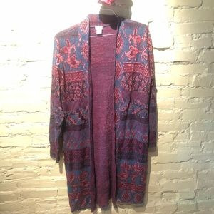 Chicos open gront cardigan brocade tapestry size